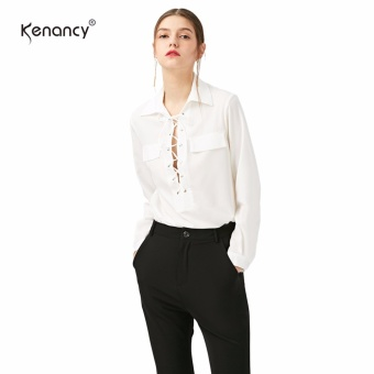 Kenancy Chiffon Blouse Shirt Women Fashion Bandage Side Slit Long Sleeve Blouse Female Office Street Shirt - intl