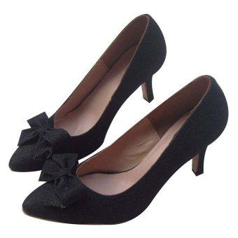 Giày cao gót nơ cuộn heel with bow Dolly&Polly DL125 (Đen)