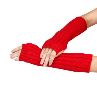 Knitted Arm Fingerless Winter Gloves Unisex Soft Warm Mitten Red