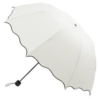 Flouncing Folding Lotus Leaves Princess Dome Parasol Sun/Rain Umbrella Beige