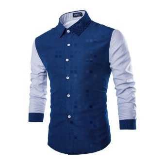 Mens Long Sleeve Shirt Casual Slim Fit Stylish Tops(Navy Blue) (L) - intl