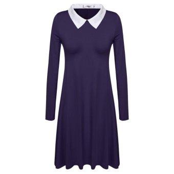 Linemart Meaneor Women Basic Designed Turn-down Neck Long Sleeve Patchwork Dress ( Purple ) - intl