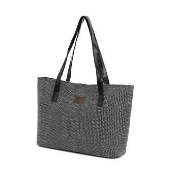 Wholesale Price!Vintage Winter Women's Handbag Large Casual Shoulder Bag Linen Fabric Material Korean Tote Bag Black - Intl - Intl