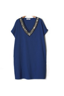 Moonar V-Neck Neckline Beading Dress (Blue) - intl