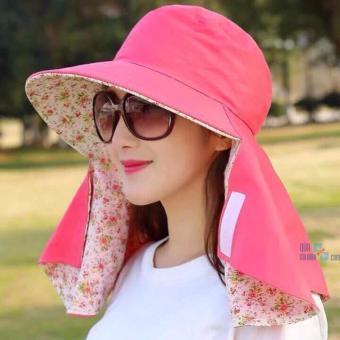 Mũ chống nắng hai lớp kèm khẩu trang tiện dụng ( màu hồng phối hoa)