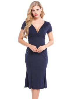 Sunweb Women Vintage Styles Cross V-Neck Short Sleeve Solid Elastic Pleated Hem Bodycon Mermaid Dress ( Navy blue ) - intl