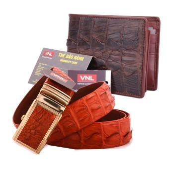 Bộ thắt lưng và ví nam da cá sấu thật chính hãng Da Giày Việt Nam VNL017ZL326 (Nâu)