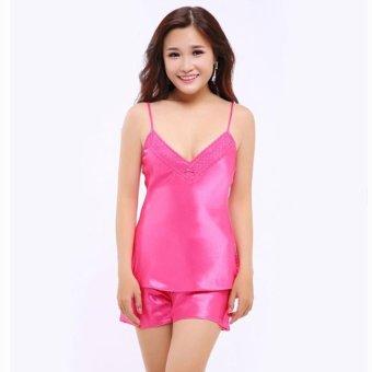Đồ bộ mặc nhà quần sọt satin 2 dây nữ tính Wannabe BS86A (Hồng Sen)