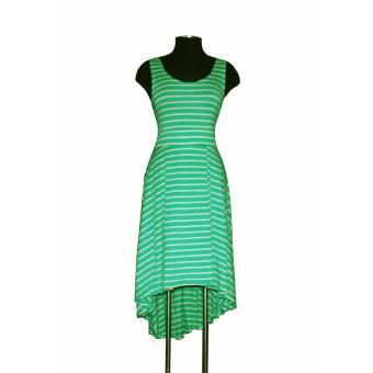 Đầm xòe thun nữ TRI LAN DAM006 (Xanh -Trắng)