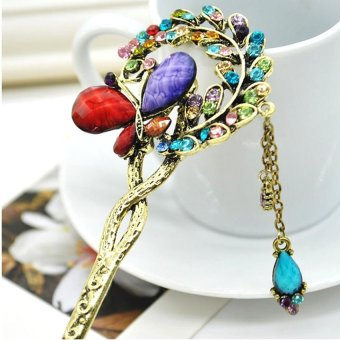 Moonar Retro Rhinestone Butterfly in Love Hair accessories Colorful