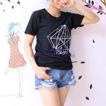 Áo Thun Nữ Tay Ngắn In Hình Kim Cương Cực Cool Tiano Fashion LV390 ( Màu Đen )