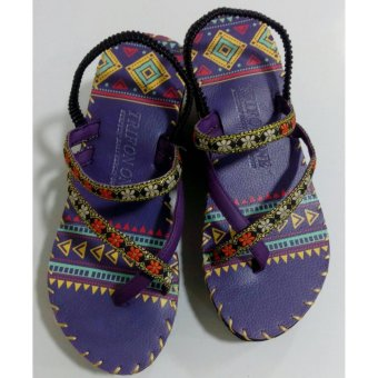Sandal thổ cẩm cao gót (Tím) TFH8533 #35