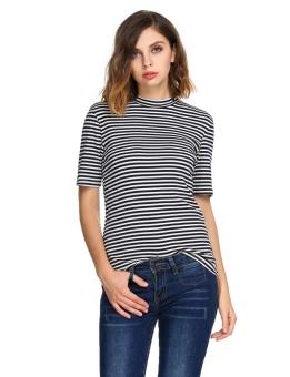 Cyber Women Short Sleeve Striped T-shirt Slim Tee Casual Basic Tops ( Multicolor ) - intl