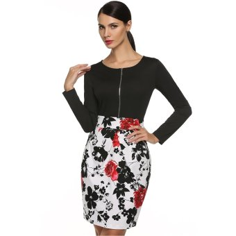 Sunweb Finejo Women O Neck Long Sleeve Floral Patchwork Bodycon Dress ( red ) - intl