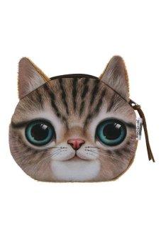 HKS Children Cute Cat Face Zipper Case Coin Money Kids Purse Wallet Makeup Bag Pouch Cornetto - intl