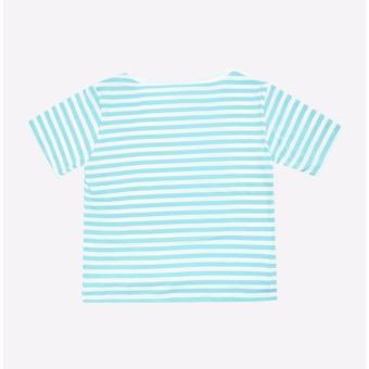 Áo thun trẻ em AntiX cổ tròn sọc trắng xanh ngọc