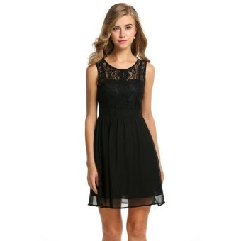 Linemart Zeagoo Women's Sheer Lace Sleeveless A-line Cocktail Evening Party Dress ( Black ) - intl