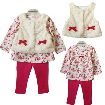 Baby Kid Toddlers Girl Clothes Floral T-shirt Tops+Leggings+Vest 3pcs Outfit Set - intl