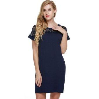 Linemart Meaneor Women Summer Short Sleeve Lace Patchwork Mini Straight Dress ( Black ) - intl