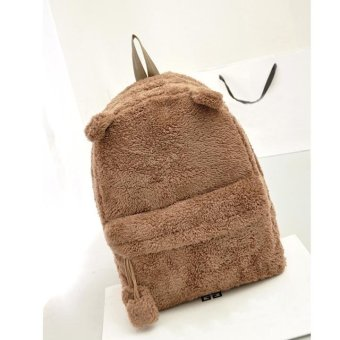 Linemart Fashion Lady Women's Young Cute Plush Bag Backpack College Campus Book Backpack ( Brown ) - intl