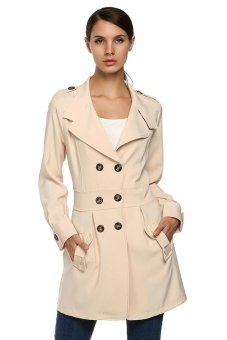 Cyber Finejo Women Casual Long Sleeve Turn Down Collar Button Trench Coat (Khaki) - Intl