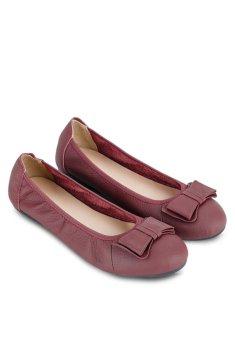 Giày Búp bê đính nơ Button On BS010 (Đỏ đô)