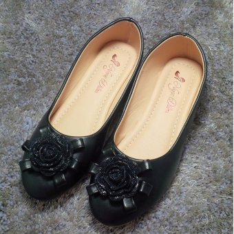 Giày búp bê nữ đính hoa, VNXK Ngọc Diễm - màu đen