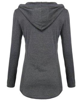 ZANZEA Solid Long Sleeve Hoodie Fashion Women Slim Round Neck Cotton Tops (Intl)