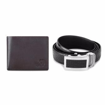 Bộ ví và thắt lưng nam da bò thật LAKA (Nâu trơn, Đen cá sấu) V02TL03