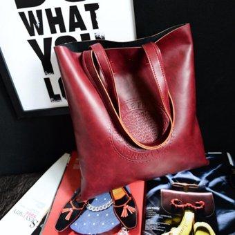 Womens PU Premium Leather Bag Top-Handle Bags Tote Bags Cross Body Shoulder Bags - intl