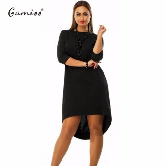 Gamiss Women Dress Elegant Solid Color Matching Three Quarter Sleeve Bodycon Casual Plus Size Dresses(Black)--TC - intl