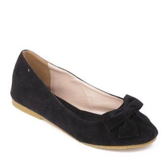 Giày búp bê Dolly & Polly DL0102-nhung (Đen)