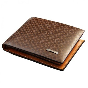 Fashion Men's Wallet Business Plaid Leisure Leather Purse - intl
