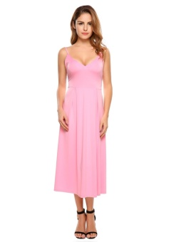 Cyber Women Sexy Strap V-neck Solid Party Beach Slim Maxi Long Pleated Dress ( Pink ) - intl