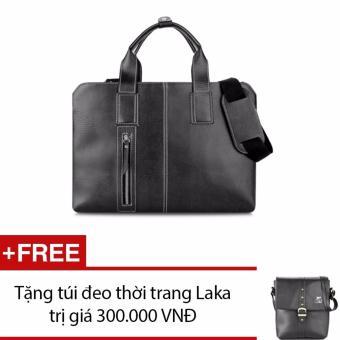 Túi xách nam công sở Laka màu Đen simili cao cấp + tặng kèm 1 túi đeo chéo đen