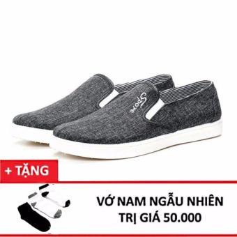 Giày Lười Vải Nam Sportmax Smg56030gr (Xám) - tặng 1 đôi tất