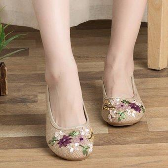 Giày búp bê thêu hoa, lót cói, đế cao su MDH-GN3467 (EU: 35-39)