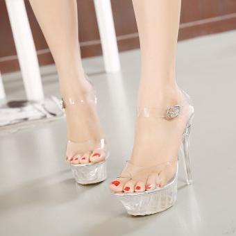 Giày cao gót đế trong pha lê 14cm CG52 (Trắng)