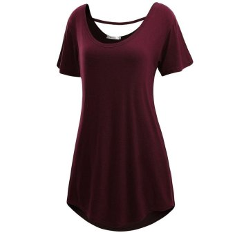 Linemart Meaneor Women Short Sleeve Loose-fit Long Length Tunic Top ( Wine Red ) - intl