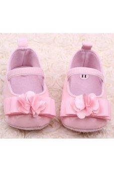 Moonar Newborn Baby Girls Flower Bow anti-skidding Soft Sole Walking Shoes (Pink)