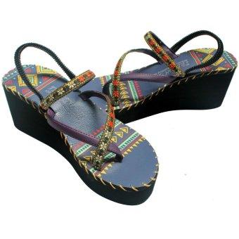 Sandal thổ cẩm cao gót (Xanh Đen) TFH8533 #37