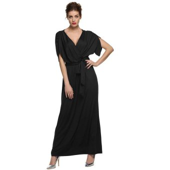 Cyber ANGVNS Sexy Women Batwing Sleeve Deep V Neck Solid Maxi Long Dress Party Evening Full Gown with Belt ( Black ) - Intl