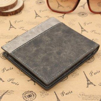 Men's Leather Bifold Wallet Holder Purse Clutch Pockets Gray - intl