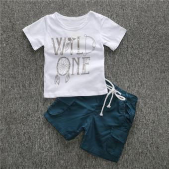 1Set Kids Toddler Boys Letter Print T-shirt+Shorts Trousers Clothes Outfits - intl