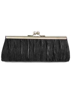 Women Lady Satin Evening Party Wedding Purse Clutch Handbag Single Shoulder Bag Small Hasp Coin Purse with Chain Black (Intl)