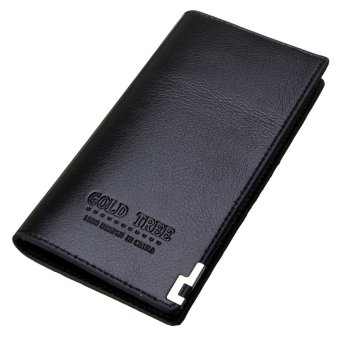 Fashion Men Leather Wallet Bifold Long Clutch Credit Card Coin Holder Purse HOT Black - intl