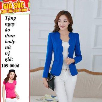 Áo Vest Nữ Gợn Sóng Thanh Lịch (Xanh) + Tặng 1 áo thun body nữ