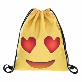 Fashion Unisex Emoji Backpacks 3D Printing Bags Drawstring Backpack Red - intl