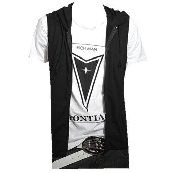 Podom Men's Casual Slim Fit Hoodie Sleeveless Vest Shirt Black - Intl