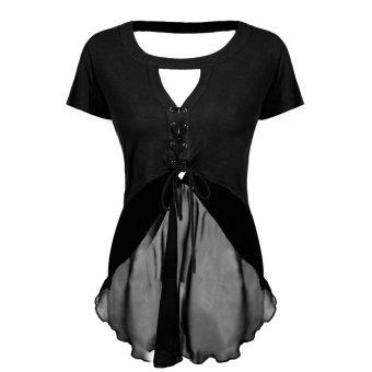 Sunweb Finejo Stylish Women Casual Top Sexy Key Hole Bandage V Back Asymmetric Hem Blouse ( Black ) - intl
